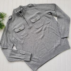 Apt 9 Gray Military Style 1/4 Zip Sweater sz Lg